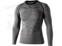 おたふく手袋 ボディアンドタフネス - BTデュアルクロス ロングスリーブクルーネックシャツ JW-592 グレー/ブラック サイスL-XL胸囲104-112 身長175-185cm