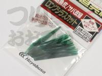 ハヤブサ 名人の道具箱 厳選魚皮 - P263 #サバ皮緑 ロングシラスカット 38mm