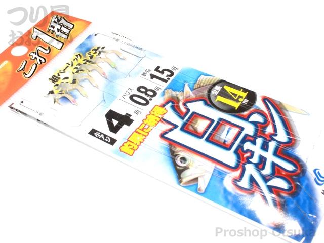 ハヤブサ これ一番シリーズ 白スキンサビキ HS711 鈎4号 ハリス 0.8号 幹糸1.5号 #白スキン