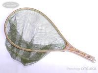 バレーヒル ランディングネット - ハンドメイドリリースネット #オリーブ M/55cm 内径37cm 横24cm