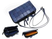 レザースタイルペルフェット 携帯小物 財布一体型 - ラウンドファスナー ウォレットショルダーバッグ #藍染ブルー 130X210mm
