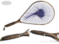 ナオクラフト ランディングネット - 本流50武骨ストレート #黒柿(一部虫食いあり) ネット内径52.5cm 37cm幅