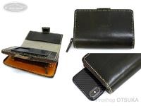 レザースタイルペルフェット レザーモバイルフォンウォレット -  #オイルドカーキ 15X10.5X4.5cm
