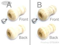 スプリームスタイル ハンドルノブ - アブ用ベイトラウンドタイプBタイプ 2個セット(アベイルハンドル対応) #ホワイトシカモア4A(2) 握り部厚み13ミリ~18ミリ