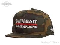 スイムベイトアンダーグラウンド ハット - SU 6パネルロゴロックアップ #ウッドランドカモ/ホワイト フリー