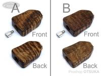 スプリームスタイル ハンドルノブ - アブ用ベイト平ヒネリ 2個セット(アベイルハンドル対応) #ハワイアンコア4A(1) 全長25ミリ 厚み7ミリ