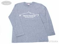 オオツカオリジナル オリジナルTシャツ - トラウトショップ Tシャツ(長袖) #ミックスグレー/文字・ホワイト XLサイズ 身丈77cm 身幅58cm 肩幅52cm