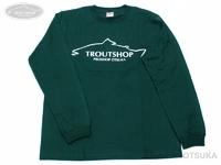 オオツカオリジナル オリジナルTシャツ - トラウトショップ Tシャツ(長袖リブ仕様) #アイビーグリーン/文字・ホワイト Lサイズ 身丈73cm 身幅55cm 肩幅48cm
