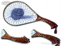 ナオクラフト ランディングネット - 渓流30牙骨流れナチュラルカーブ #花梨瘤赤 ネット内径29.5cm 22cm幅