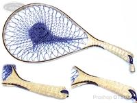 ナオクラフト ランディングネット - 本流40武骨ナチュラルカーブ #ホワイトシカモア縮み杢 ネット内径40cm 29cm幅