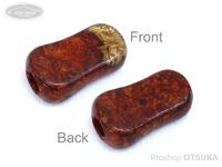 スプリームスタイル ハンドルノブ - カーディナル用ワンオフモデル #本花梨瘤紅白(7) 全長31mm 厚さ9mm