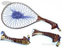 ナオクラフト ランディングネット - 本流35牙骨 #花梨瘤紅白スポルテッド ネット内径35cm 26cm幅