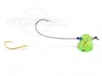 石丸産業 オリジナル1つテンヤ - 3号 グリーングロー金ラメ 親針18号 孫針5号