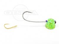 石丸産業 オリジナル1つテンヤ - 4号 グリーングロー金ラメ 親針18号 孫針5号