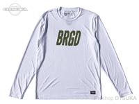 バスブリゲード Tシャツ - フレームロゴ パフォーマンスロングスリーブ #ホワイト/オリーブ Mサイズ USAサイズ ポリエステル100%