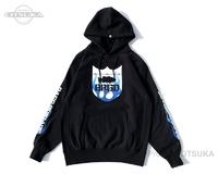 バスブリゲード スウェットシャツ - BRGDフレイムフーディー #ブラック/ブルー Lサイズ