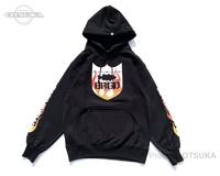 バスブリゲード スウェットシャツ - BRGDフレイムフーディー #ブラック/レッド Mサイズ